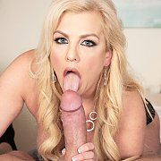 Naughty Blonde Mom Licking On An Erection