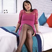 Raven Haired Stockings Gal Upskirts