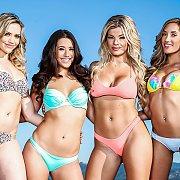 Four Bikini Porn Babes Posing Outside