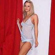 Pretty Pale Blue Lingerie Teasing Blonde