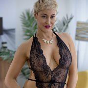 Short Haired Blonde Thirty Something In Black Teddy