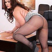 Big Tits Milf Bending Over Desk In Nylons