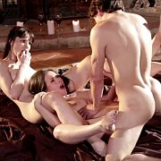 Arousing FFM Threesome By The Fireplace
