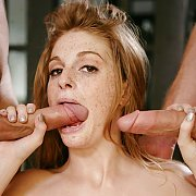 Freckled Redhead Sucking And Stroking Dick