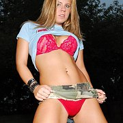 Camo Skirt And Red Panties Flashing