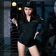 Asian Strips Sexy Police Uniform
