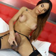 Stunning TS Kalliny Nomura Strokes Her Big Cock