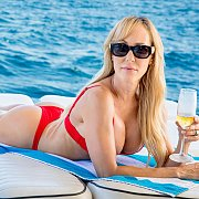 Hot Porn Milf Brandi Love In Red Bikini On A Boat