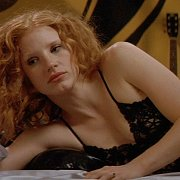 Redhead Beauty Jessica Chastain In Black Lingerie