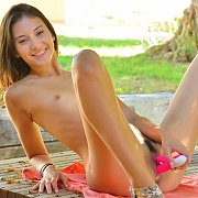 Teen Toying In The Park