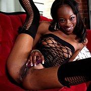 Skinny Black Woman Solo Pleasure