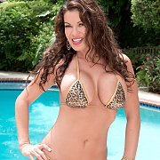 Large Boobs Bikini Milf Posing By The Pool