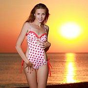 Polka Dots Swimsuit Teen At Sunset