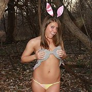 Striptease Outdoors In Bunny Ears