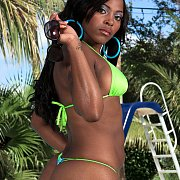 Fine Black Woman In Thong Bikini Poolside