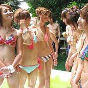 Asian Bikini Girl Party In Blow Up Pool