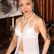 Asian Milf Posing In Sexy White Lingerie
