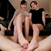POV Footjob From Asian And Brunette