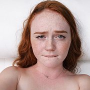 Lip Biting Freckled Face Redhead Girl