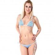 Blue And White Striped Bikini On Blonde Babe