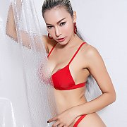 Red Bikini Teasing Asian Babe