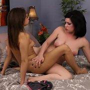 Lesbian Tribbing On The Bed