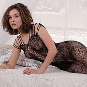 Arousing Bodystocking Lingerie Brunette Model