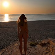 Erotic Nude Beach Girl At Sunset