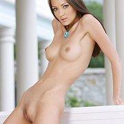 Naked Dark Hair Slim Model With Small Boobies