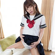 Asian Uniform Girl Grinding The Couch