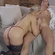 Horny Busty Blonde Milf In Stockings Fucked