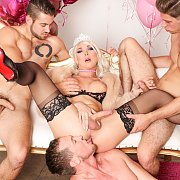 Blonde Transsexual Gangbang In Stockings