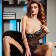Hot Curly Red Hair Lingerie Babe Strips