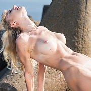 Tan Lines Nude Blonde Beach Babe