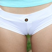 Pigtails Redhead Outdoors Strips Camel Toe Shorts