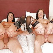 Stockings Babes Anal Foursome On The Bed