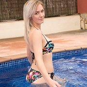 Blonde Bikini Babe Strips At The Pool