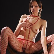 Crotchless Red Fishnets Brunette