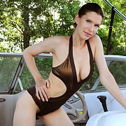 Erotic Swimsuit Babe Strips On Boat