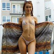 Tiny Bikini Petite At Hotel Pool