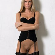 Stunning Blonde In Lingerie And Stockings